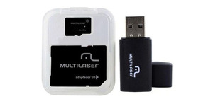 CARTAO DE MEMORIA MICRO SD 64GB MULTILASER C/ADAPTADOR SD C/USB MC115