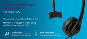 FONE HEADSET PROFISSIONAL PARA TELEFONE RJ09 PH251 MULTILASER