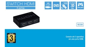 SWITCH HDMI 3 EM 1 PORTAS MULTILASER WI290